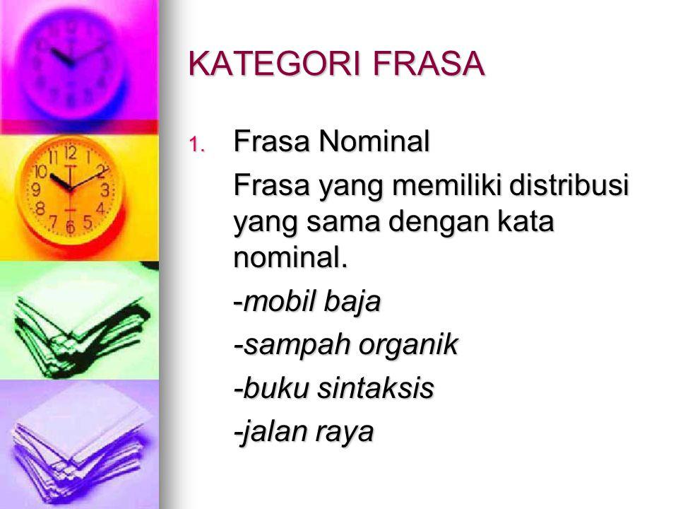KATEGORI FRASA 1. Frasa Nominal Frasa yang memiliki distribusi yang sama dengan kata nominal. -mobil baja -sampah organik -buku sintaksis -jalan raya