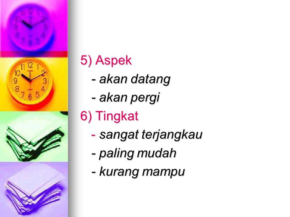 5) Aspek - akan datang - akan pergi 6) Tingkat - sangat terjangkau - paling mudah - kurang mampu