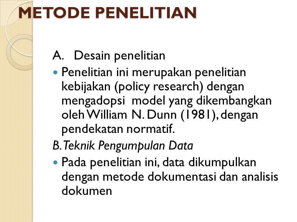 METODE PENELITIAN A. Desain penelitian Penelitian ini merupakan penelitian kebijakan (policy research) dengan mengadopsi model yang dikembangkan oleh