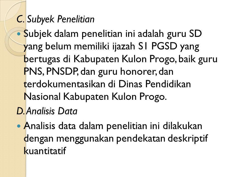 C. Subyek Penelitian Subjek dalam penelitian ini adalah guru SD yang belum memiliki ijazah S1 PGSD yang bertugas di Kabupaten Kulon Progo, baik guru P
