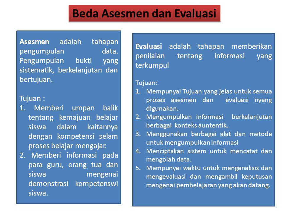 Beda Asesmen dan Evaluasi Asesmen adalah tahapan pengumpulan data.