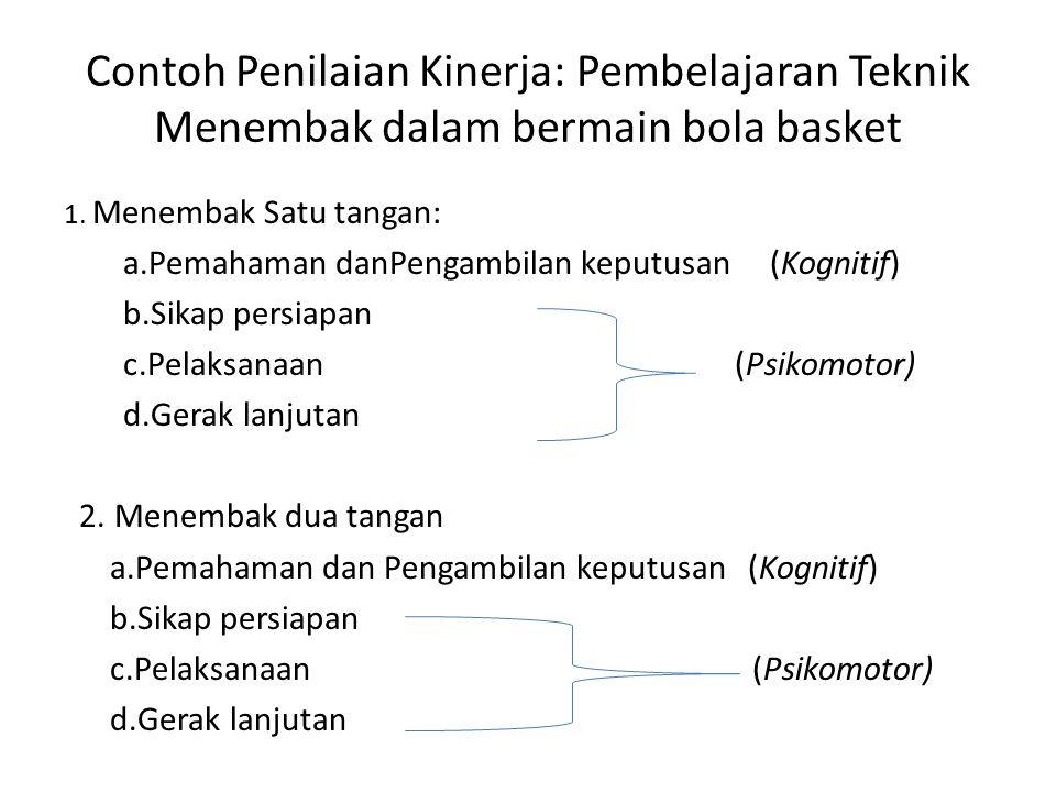 Contoh Penilaian Kinerja: Pembelajaran Teknik Menembak dalam bermain bola basket 1. Menembak Satu tangan: a.Pemahaman danPengambilan keputusan (Kognit