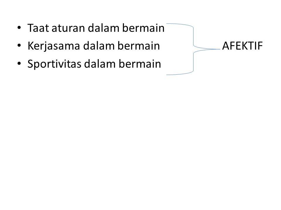 Taat aturan dalam bermain Kerjasama dalam bermain AFEKTIF Sportivitas dalam bermain