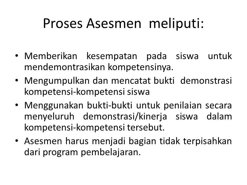 Proses Asesmen meliputi: Memberikan kesempatan pada siswa untuk mendemontrasikan kompetensinya. Mengumpulkan dan mencatat bukti demonstrasi kompetensi