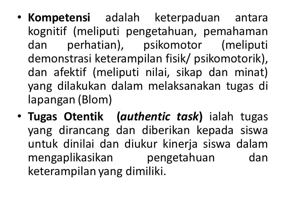 Kompetensi adalah keterpaduan antara kognitif (meliputi pengetahuan, pemahaman dan perhatian), psikomotor (meliputi demonstrasi keterampilan fisik/ psikomotorik), dan afektif (meliputi nilai, sikap dan minat) yang dilakukan dalam melaksanakan tugas di lapangan (Blom) Tugas Otentik (authentic task) ialah tugas yang dirancang dan diberikan kepada siswa untuk dinilai dan diukur kinerja siswa dalam mengaplikasikan pengetahuan dan keterampilan yang dimiliki.