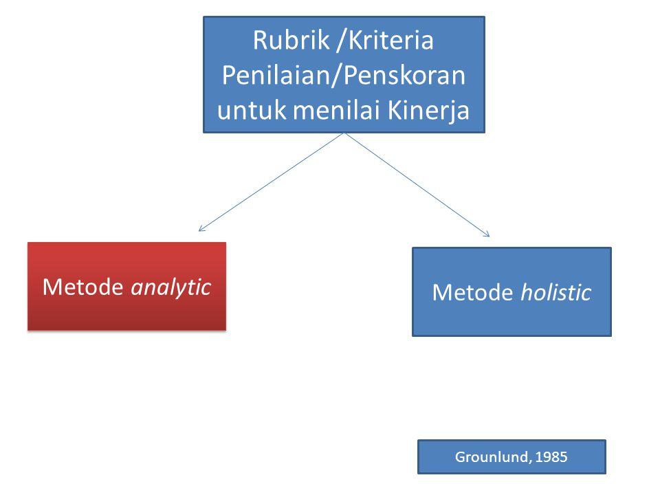 Rubrik /Kriteria Penilaian/Penskoran untuk menilai Kinerja Metode analytic Metode holistic Grounlund, 1985
