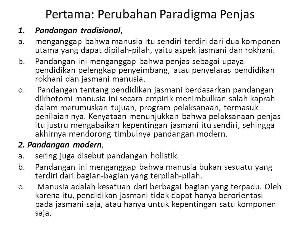 Pertama: Perubahan Paradigma Penjas 1.Pandangan tradisional, a.menganggap bahwa manusia itu sendiri terdiri dari dua komponen utama yang dapat dipilah