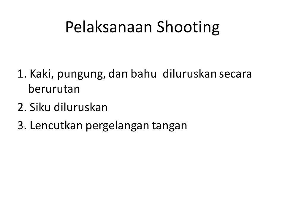 Pelaksanaan Shooting 1.Kaki, pungung, dan bahu diluruskan secara berurutan 2.