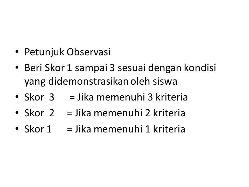 Petunjuk Observasi Beri Skor 1 sampai 3 sesuai dengan kondisi yang didemonstrasikan oleh siswa Skor 3 = Jika memenuhi 3 kriteria Skor 2 = Jika memenuhi 2 kriteria Skor 1 = Jika memenuhi 1 kriteria