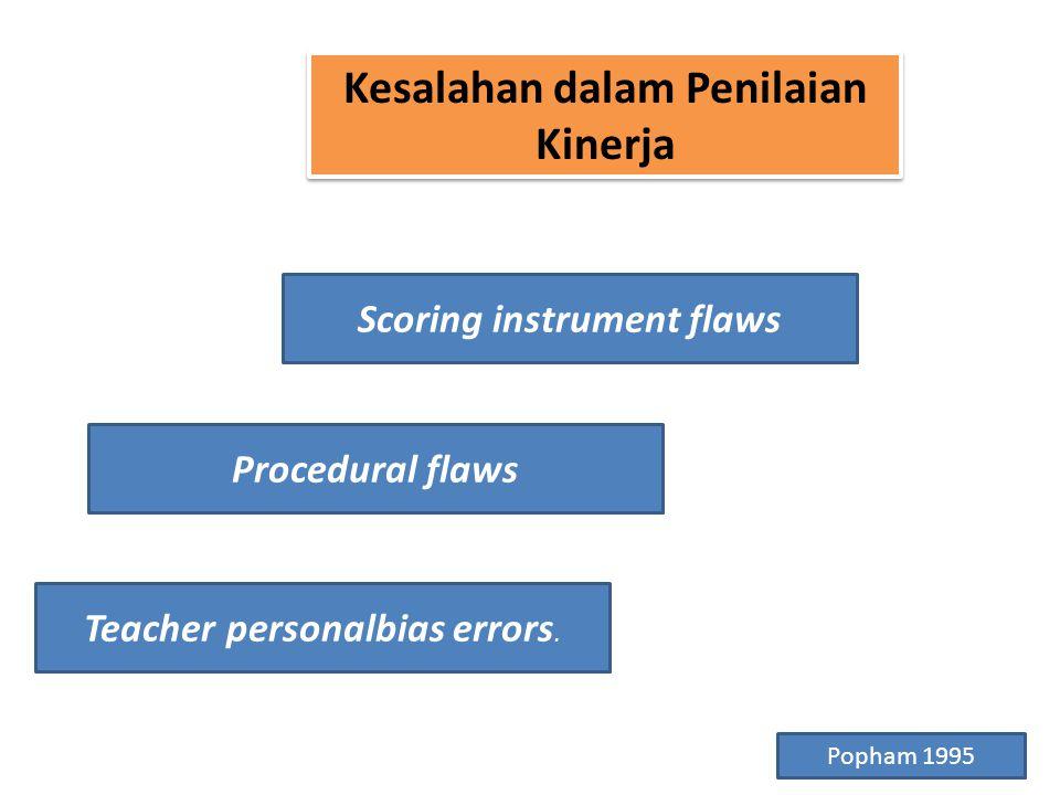 Kesalahan dalam Penilaian Kinerja Scoring instrument flaws Procedural flaws Teacher personalbias errors.