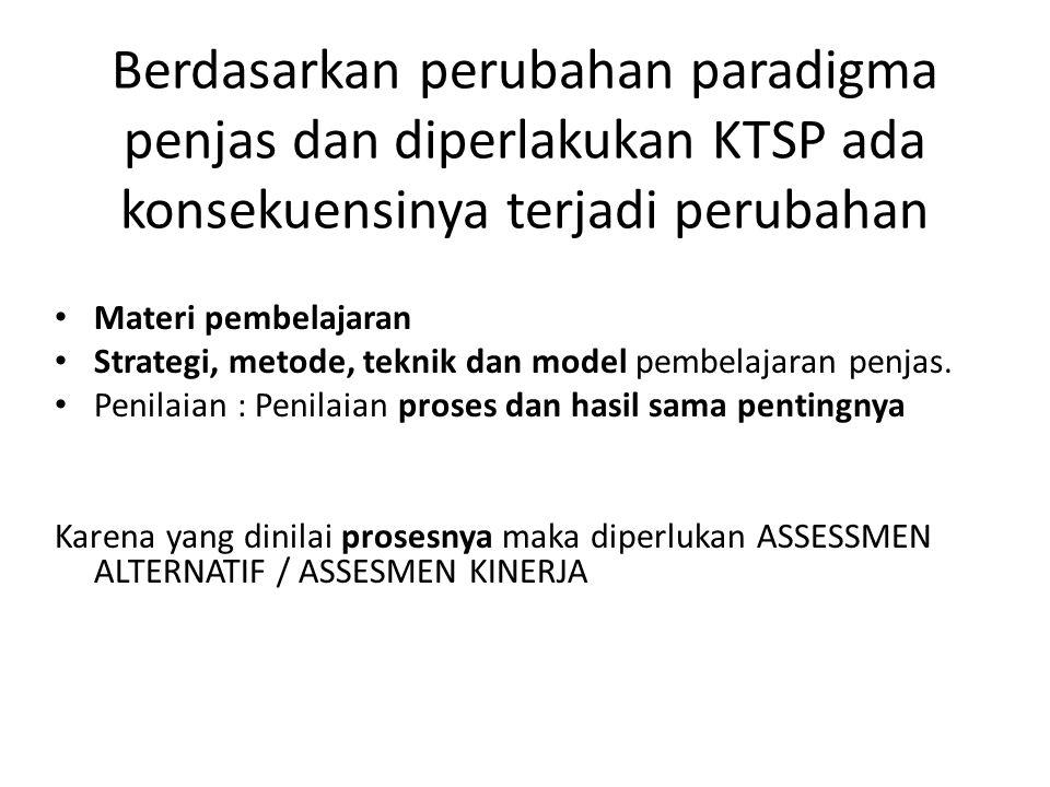 Berdasarkan perubahan paradigma penjas dan diperlakukan KTSP ada konsekuensinya terjadi perubahan Materi pembelajaran Strategi, metode, teknik dan model pembelajaran penjas.