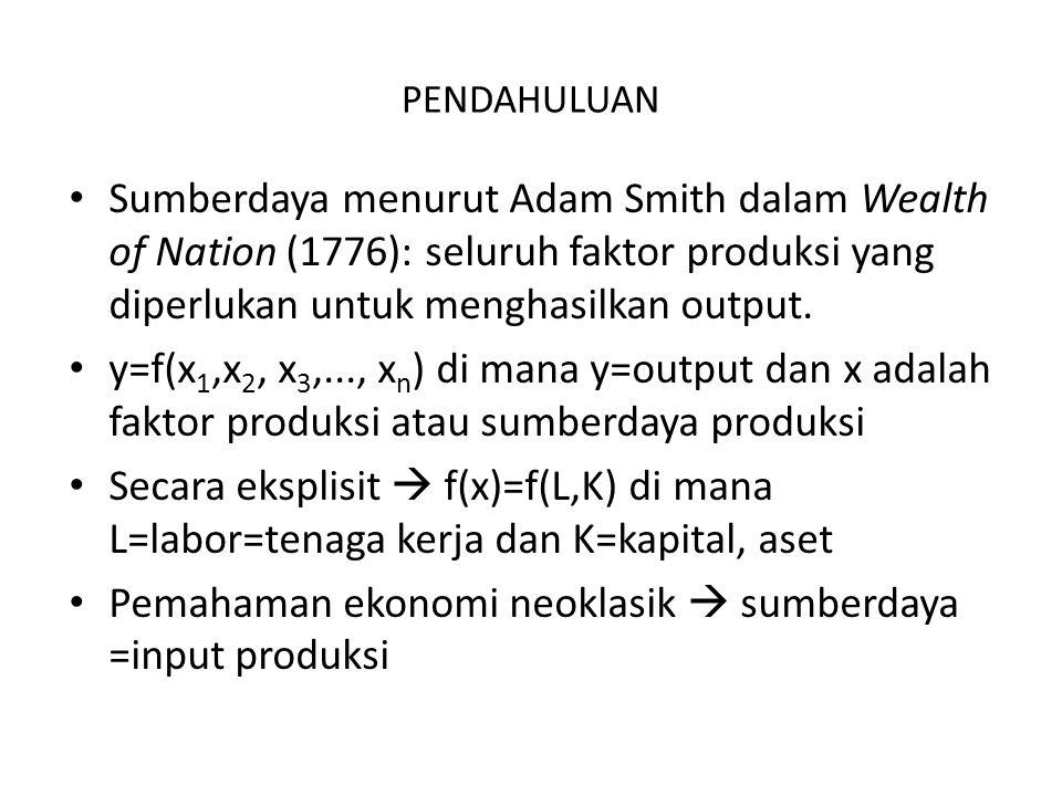 PENDAHULUAN Sumberdaya menurut Adam Smith dalam Wealth of Nation (1776): seluruh faktor produksi yang diperlukan untuk menghasilkan output. y=f(x 1,x