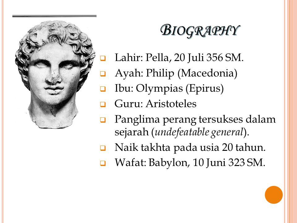 BIOGRAPHY LLahir: Pella, 20 Juli 356 SM. AAyah: Philip (Macedonia) IIbu: Olympias (Epirus) GGuru: Aristoteles PPanglima perang tersukses dal