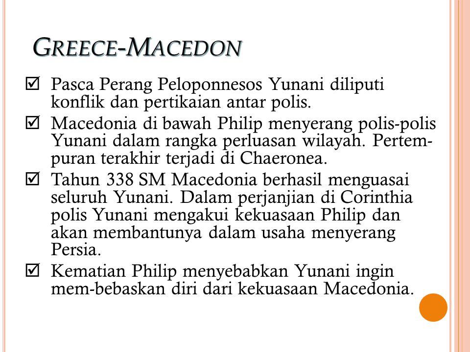 GREECE-MACEDON  Pasca Perang Peloponnesos Yunani diliputi konflik dan pertikaian antar polis.  Macedonia di bawah Philip menyerang polis-polis Yunan