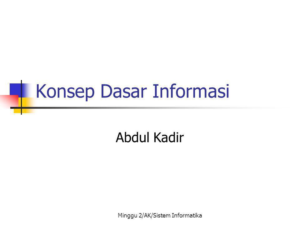 Minggu 2/AK/Sistem Informatika Informasi Sebagai Aset Siapa yang mempunyai informasi akan menjadi pemenang Informasi menjadi aset dalam perusahaan (4M dan 1I) Manusia Mesin Material Modal Informasi