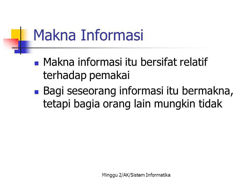 Minggu 2/AK/Sistem Informatika Makna Informasi Makna informasi itu bersifat relatif terhadap pemakai Bagi seseorang informasi itu bermakna, tetapi bag