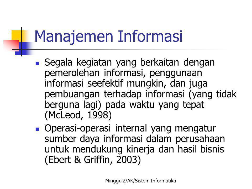 Minggu 2/AK/Sistem Informatika Pemakai Informasi Internal (staf operasi, manajemen tingkat bawah hingga manajemen tingkat atas) Eksternal (pelanggan, pemegang saham, pemasok atau mitra kerja, dinas pajak, dan lain-lain)