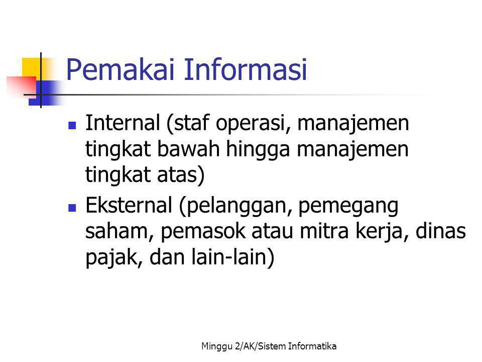 Minggu 2/AK/Sistem Informatika Pemakai Informasi Internal (staf operasi, manajemen tingkat bawah hingga manajemen tingkat atas) Eksternal (pelanggan,