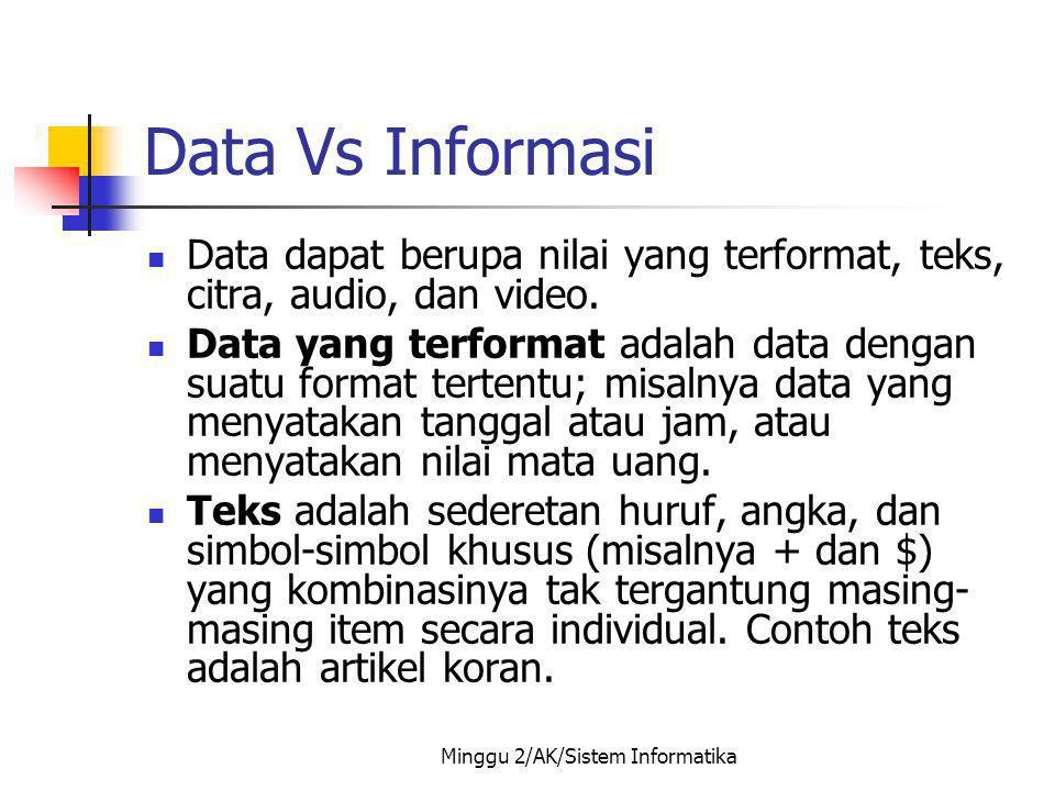 Minggu 2/AK/Sistem Informatika Data Vs Informasi Data dapat berupa nilai yang terformat, teks, citra, audio, dan video. Data yang terformat adalah dat