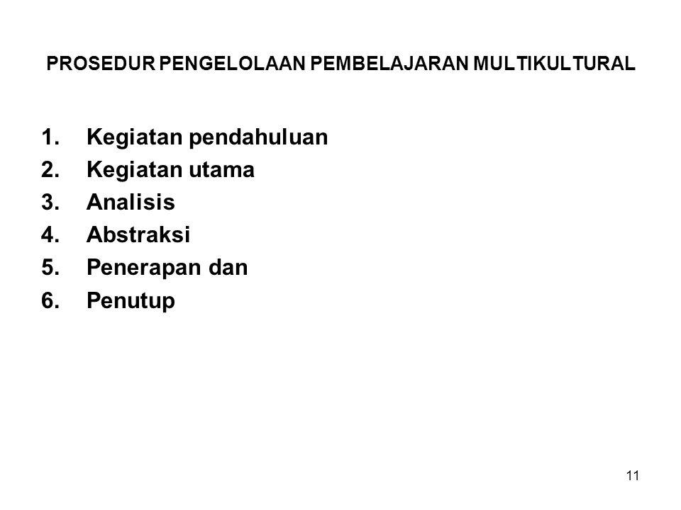 PROSEDUR PENGELOLAAN PEMBELAJARAN MULTIKULTURAL 1.Kegiatan pendahuluan 2.Kegiatan utama 3.Analisis 4.Abstraksi 5.Penerapan dan 6.Penutup 11
