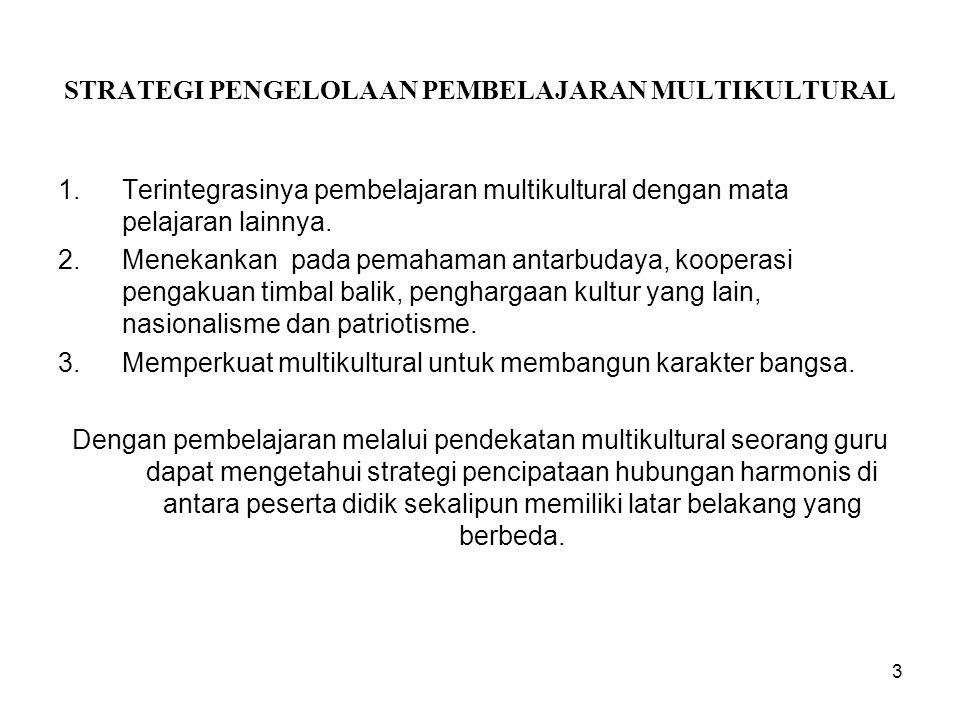 STRATEGI PENGELOLAAN PEMBELAJARAN MULTIKULTURAL 1.Terintegrasinya pembelajaran multikultural dengan mata pelajaran lainnya. 2.Menekankan pada pemahama