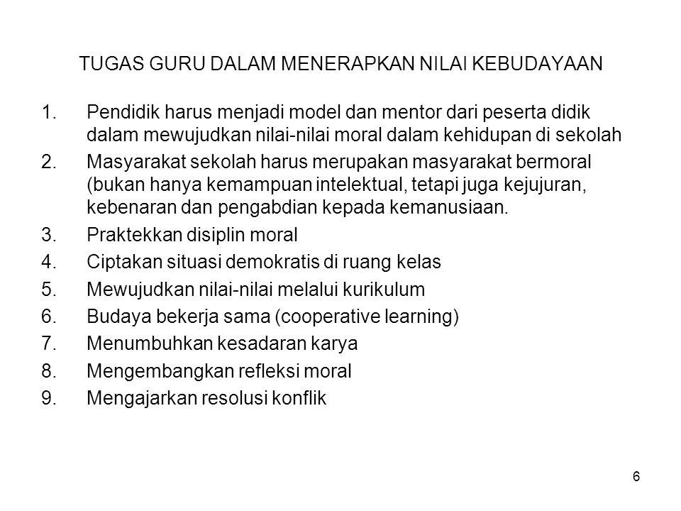 TUGAS GURU DALAM MENERAPKAN NILAI KEBUDAYAAN 1.Pendidik harus menjadi model dan mentor dari peserta didik dalam mewujudkan nilai-nilai moral dalam keh