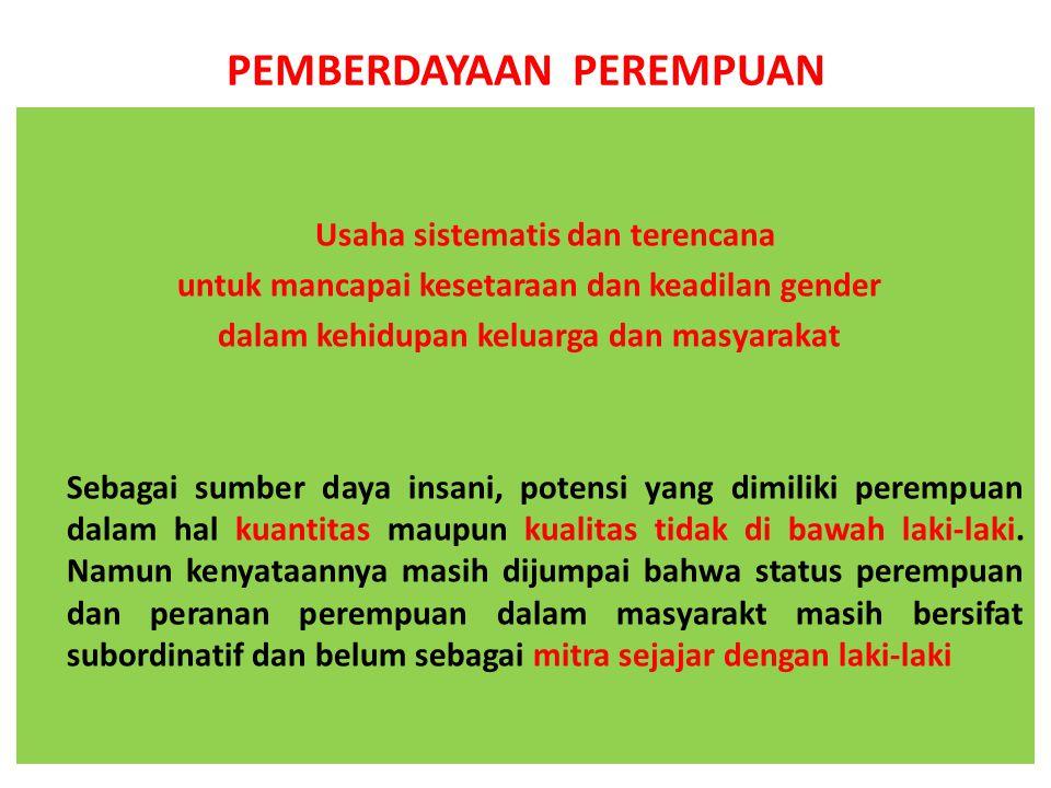 PEMBERDAYAAN PEREMPUAN Usaha sistematis dan terencana untuk mancapai kesetaraan dan keadilan gender dalam kehidupan keluarga dan masyarakat Sebagai su