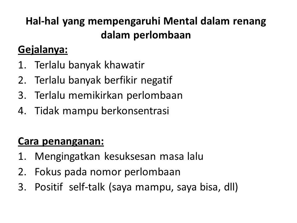 Hal-hal yang mempengaruhi Mental dalam renang dalam perlombaan Gejalanya: 1.Terlalu banyak khawatir 2.Terlalu banyak berfikir negatif 3.Terlalu memiki