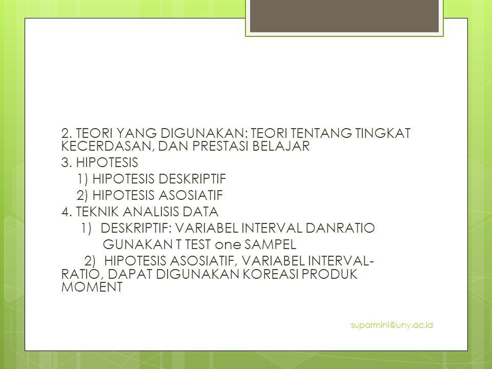 2. TEORI YANG DIGUNAKAN: TEORI TENTANG TINGKAT KECERDASAN, DAN PRESTASI BELAJAR 3. HIPOTESIS 1) HIPOTESIS DESKRIPTIF 2) HIPOTESIS ASOSIATIF 4. TEKNIK