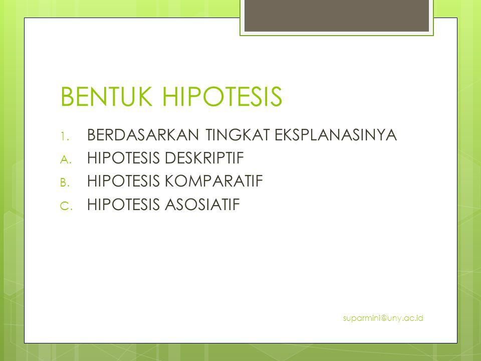 BENTUK HIPOTESIS 1. BERDASARKAN TINGKAT EKSPLANASINYA A. HIPOTESIS DESKRIPTIF B. HIPOTESIS KOMPARATIF C. HIPOTESIS ASOSIATIF suparmini@uny.ac.id