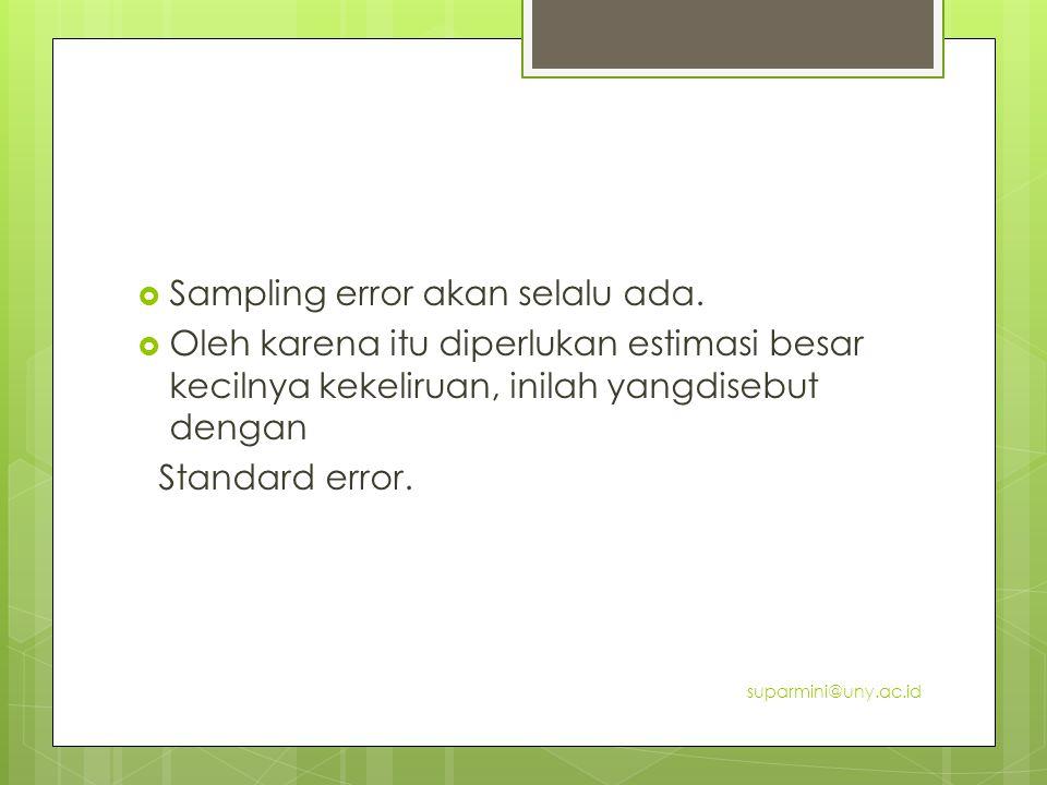  Sampling error akan selalu ada.  Oleh karena itu diperlukan estimasi besar kecilnya kekeliruan, inilah yangdisebut dengan Standard error. suparmini