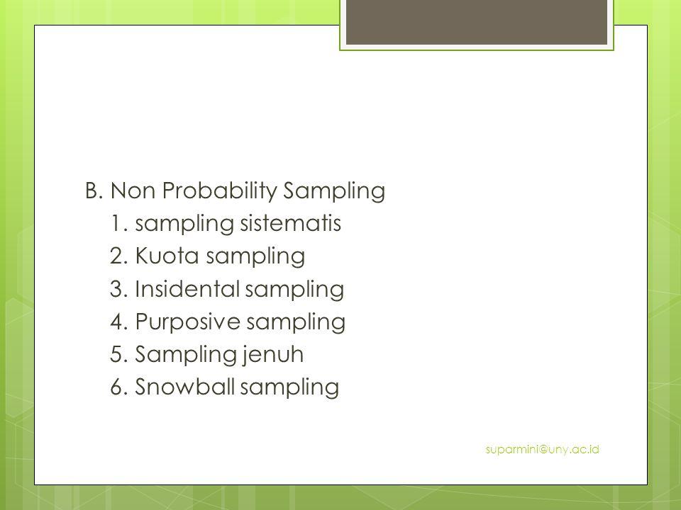 B.Non Probability Sampling 1. sampling sistematis 2.