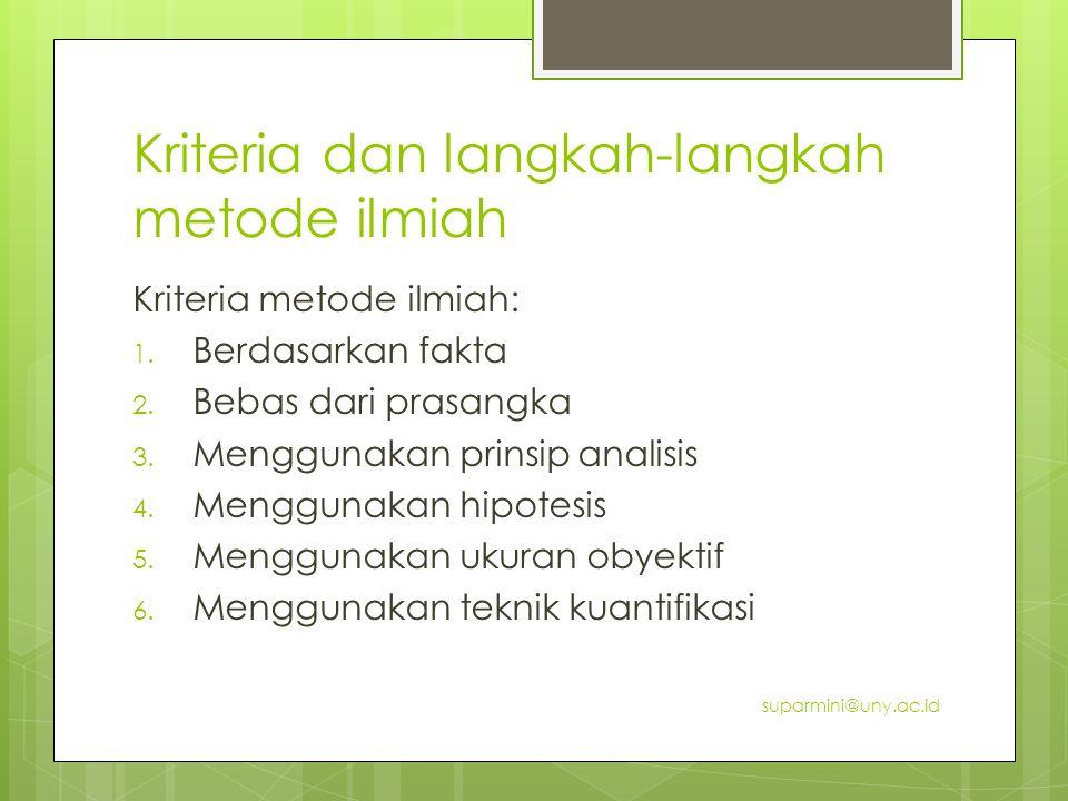 Kriteria dan langkah-langkah metode ilmiah Kriteria metode ilmiah: 1.