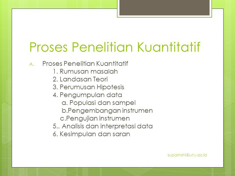 Proses Penelitian Kuantitatif A. Proses Penelitian Kuantitatif 1. Rumusan masalah 2. Landasan Teori 3. Perumusan Hipotesis 4. Pengumpulan data a. Popu