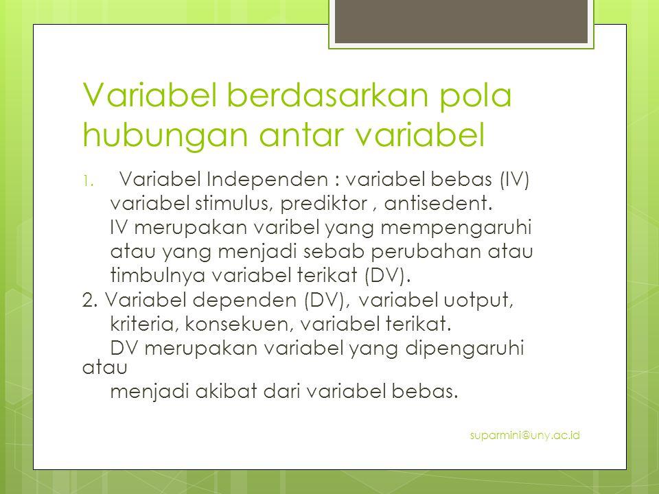 Variabel berdasarkan pola hubungan antar variabel 1. Variabel Independen : variabel bebas (IV) variabel stimulus, prediktor, antisedent. IV merupakan