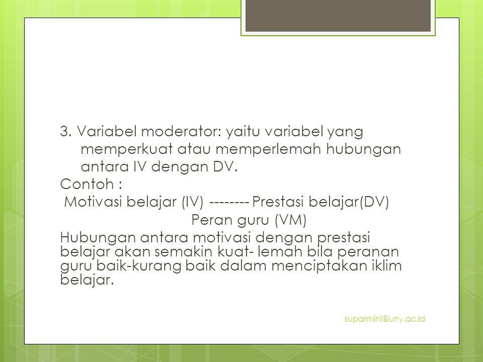 3. Variabel moderator: yaitu variabel yang memperkuat atau memperlemah hubungan antara IV dengan DV. Contoh : Motivasi belajar (IV) -------- Prestasi