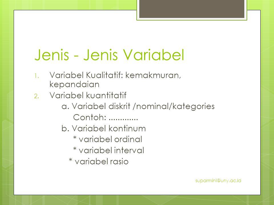 Jenis - Jenis Variabel 1. Variabel Kualitatif: kemakmuran, kepandaian 2. Variabel kuantitatif a. Variabel diskrit /nominal/kategories Contoh:.........