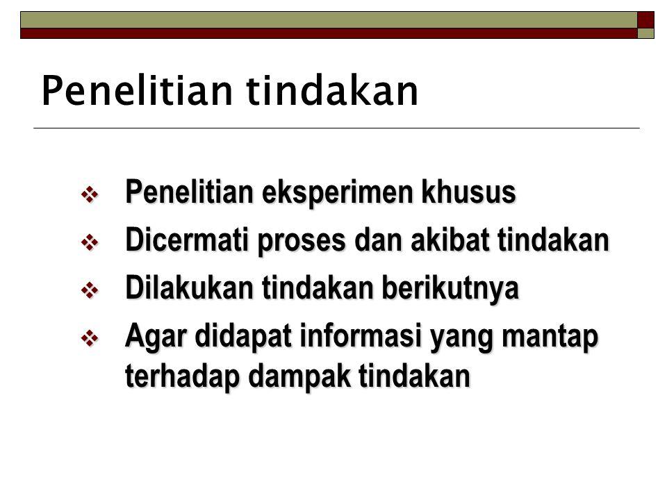 Penelitian tindakan  Penelitian eksperimen khusus  Dicermati proses dan akibat tindakan  Dilakukan tindakan berikutnya  Agar didapat informasi yan