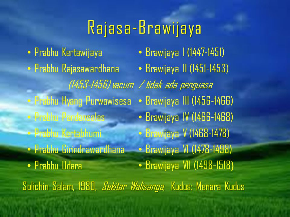 Rajasa-Brawijaya Prabhu Kertawijaya Prabhu Rajasawardhana (1453-1456) vacum Prabhu Hyang Purwawisesa Prabhu Pandansalas Prabhu Kertabhumi Prabhu Girin