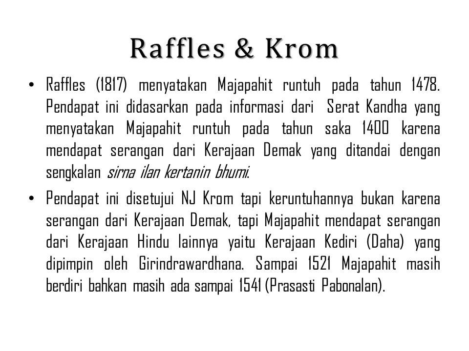 Raffles & Krom Raffles (1817) menyatakan Majapahit runtuh pada tahun 1478. Pendapat ini didasarkan pada informasi dari Serat Kandha yang menyatakan Ma