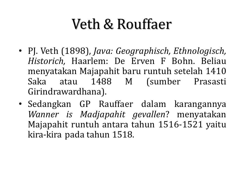 Veth & Rouffaer PJ. Veth (1898), Java: Geographisch, Ethnologisch, Historich, Haarlem: De Erven F Bohn. Beliau menyatakan Majapahit baru runtuh setela