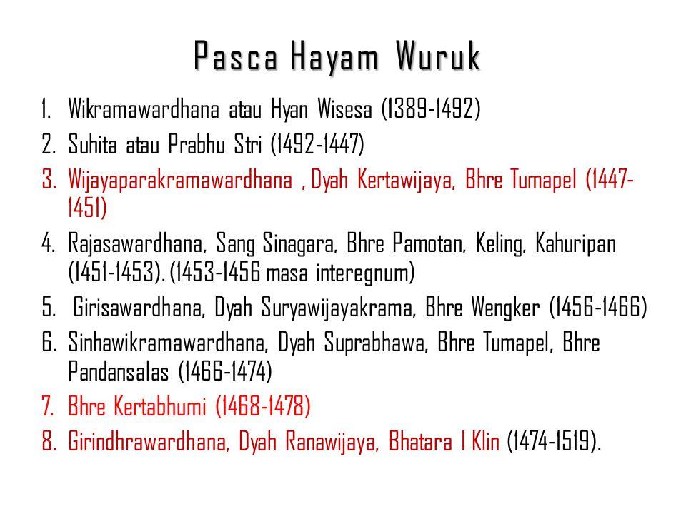 Pasca Hayam Wuruk 1.Wikramawardhana atau Hyan Wisesa (1389-1492) 2.Suhita atau Prabhu Stri (1492-1447) 3.Wijayaparakramawardhana, Dyah Kertawijaya, Bh