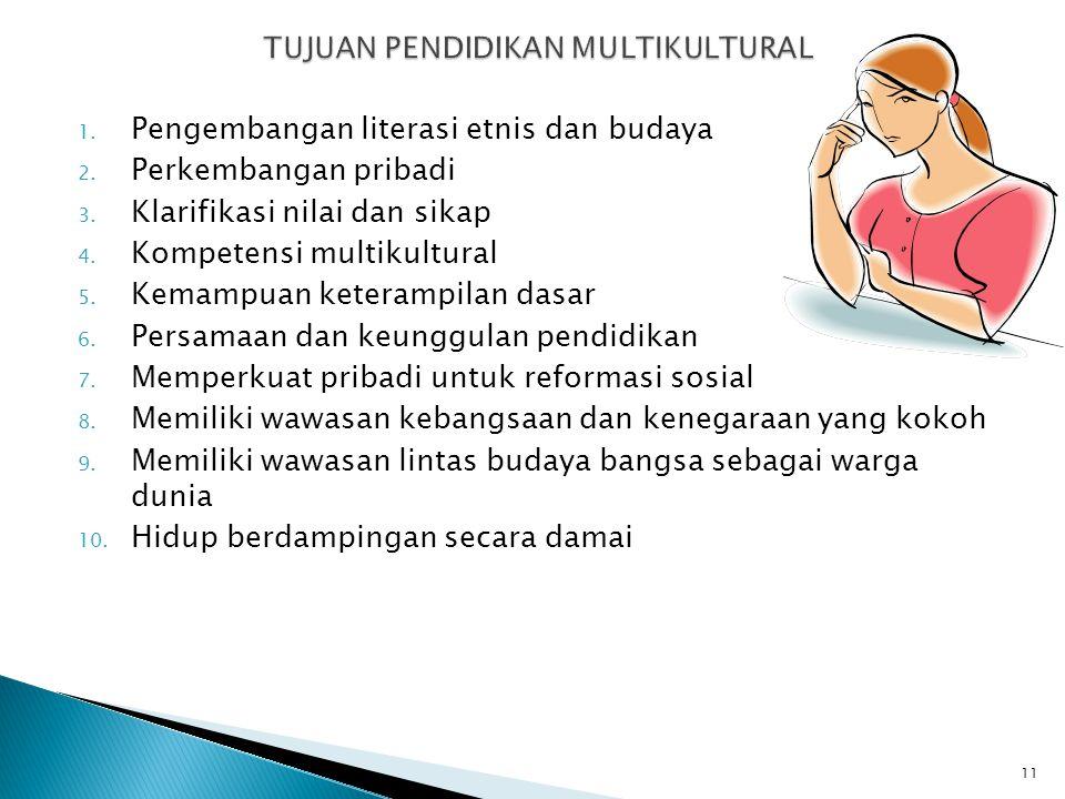 1. Pengembangan literasi etnis dan budaya 2. Perkembangan pribadi 3. Klarifikasi nilai dan sikap 4. Kompetensi multikultural 5. Kemampuan keterampilan