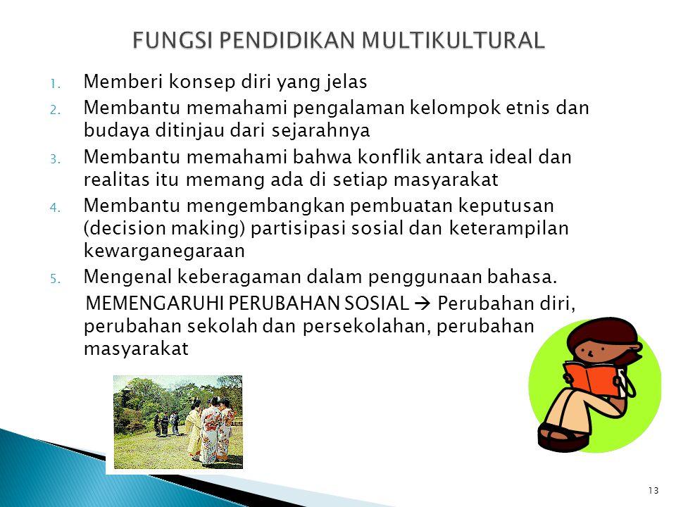 1. Memberi konsep diri yang jelas 2. Membantu memahami pengalaman kelompok etnis dan budaya ditinjau dari sejarahnya 3. Membantu memahami bahwa konfli