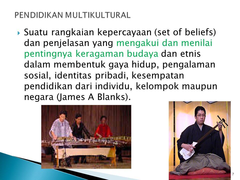  Suatu rangkaian kepercayaan (set of beliefs) dan penjelasan yang mengakui dan menilai pentingnya keragaman budaya dan etnis dalam membentuk gaya hid