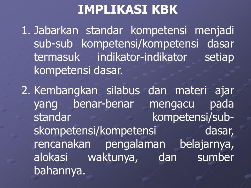 IMPLIKASI KBK 1.Jabarkan standar kompetensi menjadi sub-sub kompetensi/kompetensi dasar termasuk indikator-indikator setiap kompetensi dasar. 2.Kemban