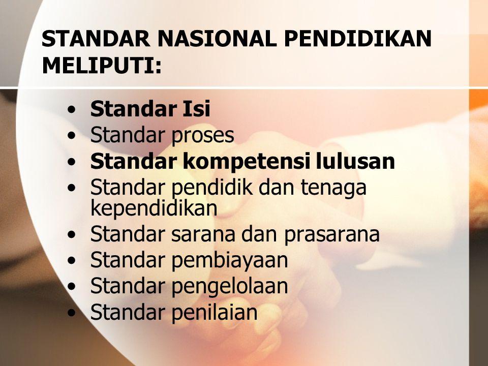 STANDAR NASIONAL PENDIDIKAN MELIPUTI: Standar Isi Standar proses Standar kompetensi lulusan Standar pendidik dan tenaga kependidikan Standar sarana da