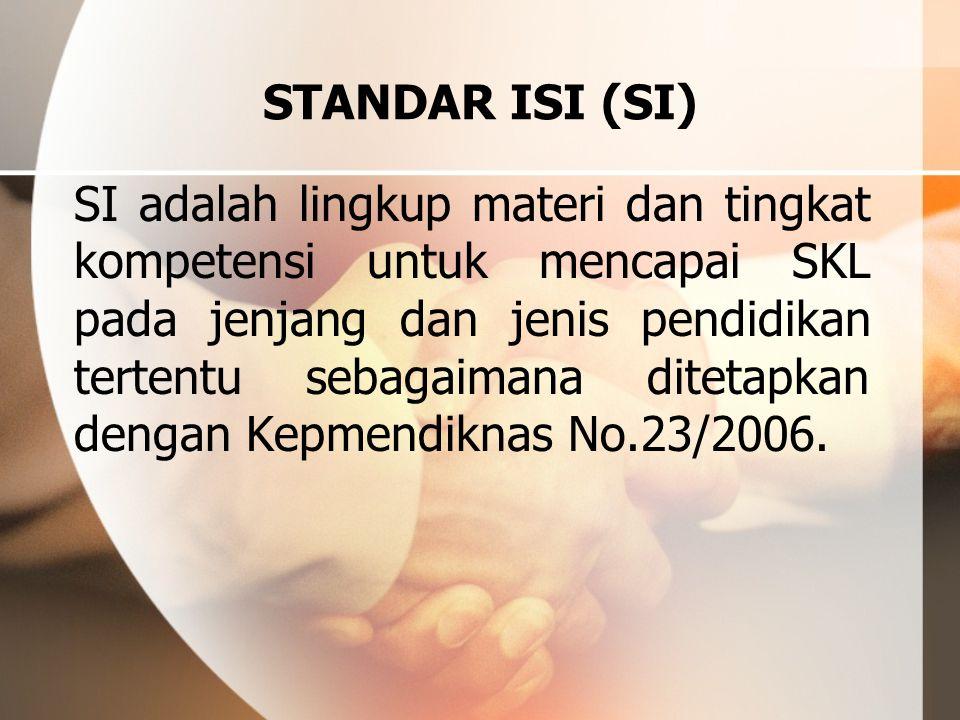 STANDAR ISI (SI) SI adalah lingkup materi dan tingkat kompetensi untuk mencapai SKL pada jenjang dan jenis pendidikan tertentu sebagaimana ditetapkan