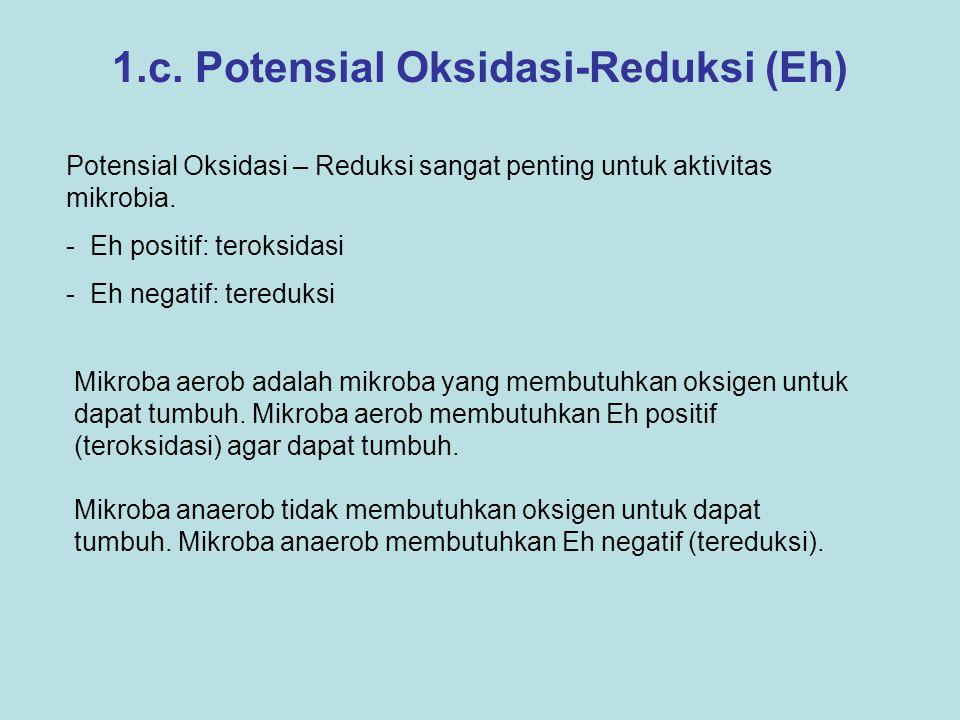 1.c. Potensial Oksidasi-Reduksi (Eh) Potensial Oksidasi – Reduksi sangat penting untuk aktivitas mikrobia. - Eh positif: teroksidasi - Eh negatif: ter