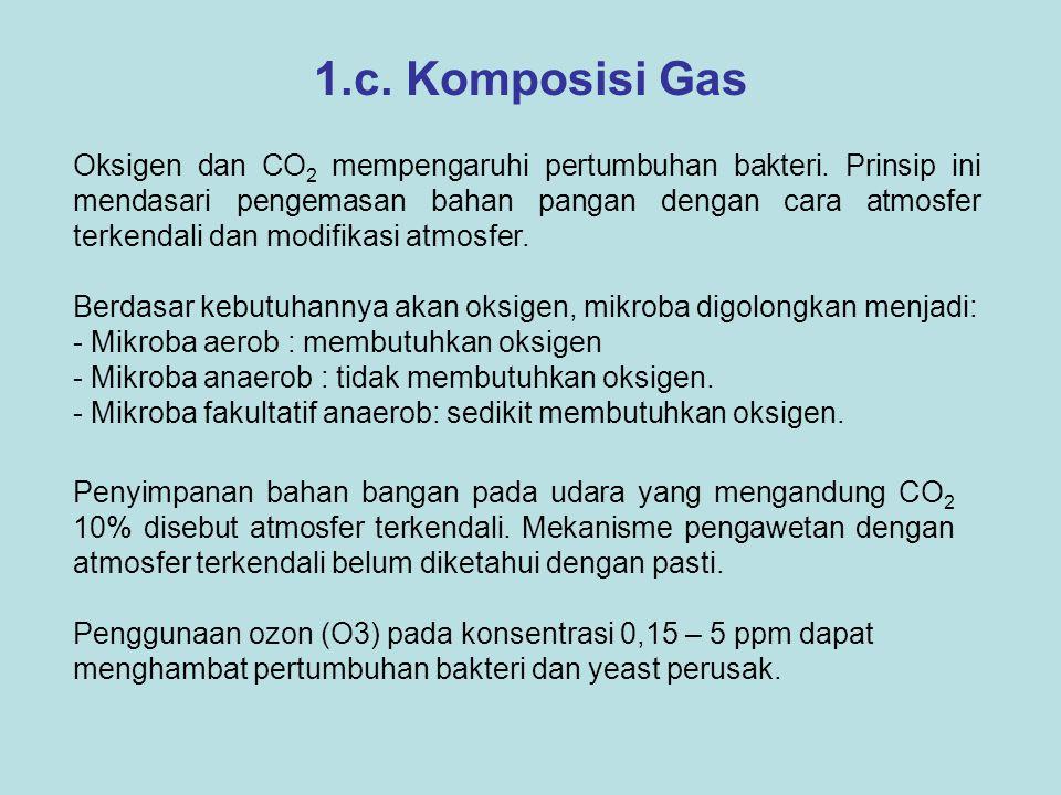 1.c. Komposisi Gas Berdasar kebutuhannya akan oksigen, mikroba digolongkan menjadi: - Mikroba aerob : membutuhkan oksigen - Mikroba anaerob : tidak me